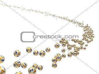 3d illustration of flying lottery balls flock.