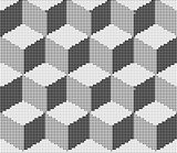 Vector illustration with halftone pattern. Isometric Cubes Engraving Seamless Texture. Black Strokes Background. Vector Illustration.