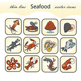 Seafood thin line vector icons set.