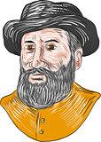 Ferdinand Magellan Bust Drawing