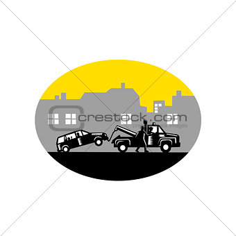 Tow Truck Towing Car Buildings Oval Woodcut