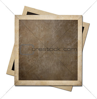 Old instant photo paper frames isolated on white