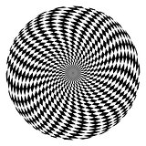 Rotation movement illusion. Circle op art pattern.
