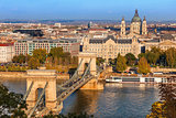 Budapest. View of the Szechenyi chain bridge over the Danube