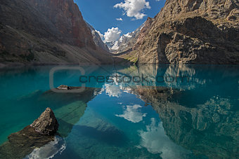Blue mountains lake with sky reflection