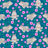 Hippos cartoon vector seamless pattern.