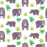 Rhinoceros cartoon vector seamless pattern.