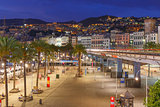 Old town and highway of Genoa at night, Italy.