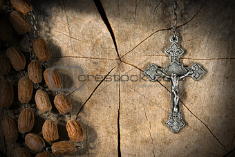 Old Rosary with Beads and Cross