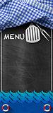 Seafood Menu - Blackboard with Blue Waves