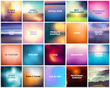 BIG set of 20 square blurred nature backgrounds. With various quotes