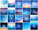 BIG set of 20 square blurred nature dark blue backgrounds. With various quotes