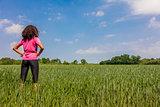 Female Woman Girl Runner in Green Field