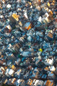 Tilt Shift Aerial View of the Tokyo City, Japan