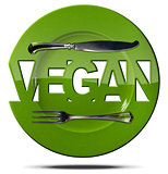 Vegan Green Plate - Symbol with Cutlery