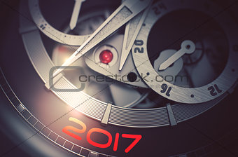 2017 on Men Wristwatch Mechanism. 3D.