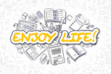 Enjoy Life - Cartoon Yellow Word. Business Concept.