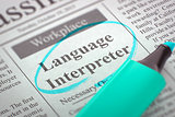 Language Interpreter Hiring Now. 3D.