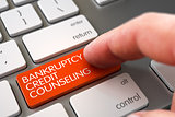 Bankruptcy Credit Counseling - Keyboard Key Concept. 3D.