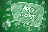 Apps Design - Doodle Illustration on Green Chalkboard.