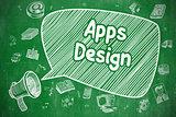 Apps Design - Doodle Illustration on Green Chalkboard.