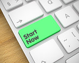 Start Now - Inscription on the Green Keyboard Button. 3D.
