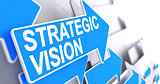 Strategic Vision - Label on the Blue Pointer. 3D.