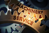 Machinery Service on Golden Cogwheels. 3D Illustration.