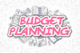 Budget Planning - Cartoon Magenta Text. Business Concept.