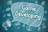 Game Developing - Doodle Illustration on Blue Chalkboard.