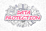 Data Protection - Doodle Magenta Text. Business Concept.