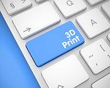 Text on Blue Keyboard Keypad - 3D Print. 3D.