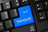 Translate CloseUp of Blue Keyboard Button. 3D.