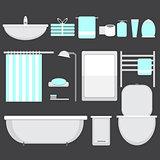 Modern bathroom ocons set in flat style
