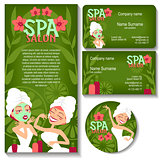 Spa salon. Business card, sticker, flyer.