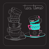 Tea Time card with  hand drawn cup isolated on black.