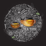 Vector card with cup, pot, herb and text Tea Time.