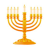Hanukkah golden menorah with burning candles.