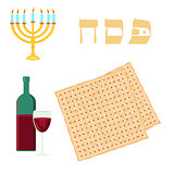 Happy passover with star of david, wine and matzah.