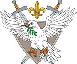 Dove Olive Leaf Sword Fleur De Lis Crest Drawing