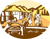 Hands on Wheel Tourist Mountain Oval Woodcut