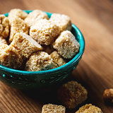 Brown sugar close-up in a bowl