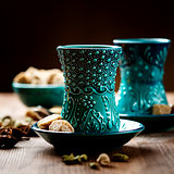 Authentic blue dishware, masala tea