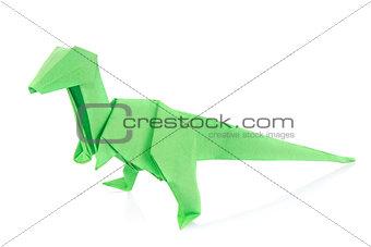 Green Velociraptor dinosaur of origami.