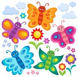 Stylized butterflies theme set 1