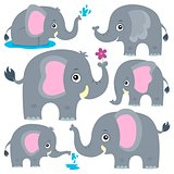 Stylized elephants theme set 1