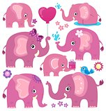 Stylized elephants theme set 3