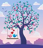 Tree with Valentine birds theme 2