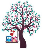 Tree with Valentine owls theme 1