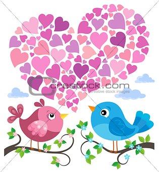 Valentine birds with heart shape theme 1